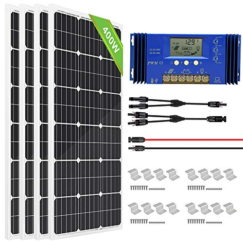 ECO-WORTHY 400 Watt Monocrystalline Solar Panel Kit with 60A LCD Solar Charge Controller for Shed...