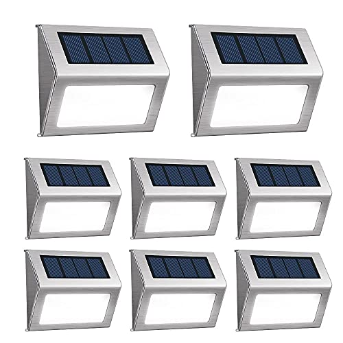 [Pack of 8] F-TECK Outdoor Stainless Steel LED Solar Step Light Wireless Super Bright Modern White...