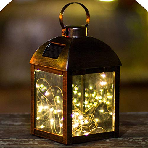 GO2GARDEN LED Hanging Tabletop Solar Lantern with Firefly Fairy Star Warm White Copper Wire String...