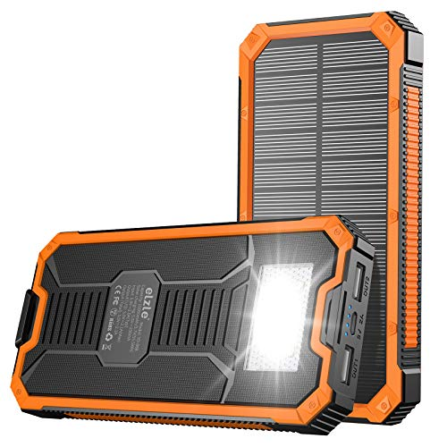 Portable Charger Power Bank 15000mAh, Elzle Solar Charger, Solar Power Bank Battery P ack, high...