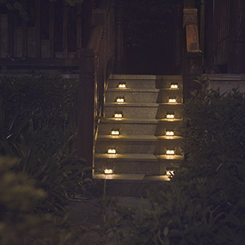 [Warm Light] Solar Lights for Steps Decks Pathway Yard Stairs Fences, LED lamp, Outdoor Waterproof,...