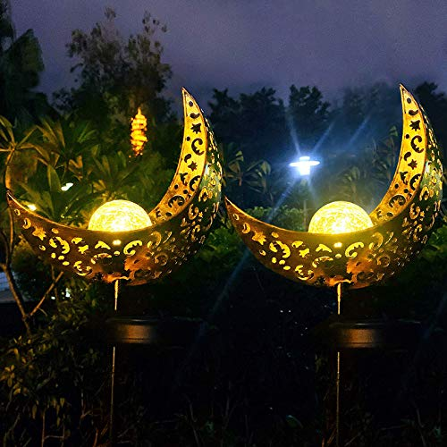 Solar Powered Garden Lights, 2 Pack Antique Brass Hollow-Carved Metal Moon with Warm White Crackle...