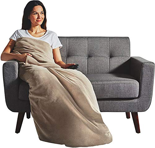 Sunbeam Electric Heated Velvet Plush Deluxe Throw XL Dual Pocket Blanket Mushroom Washable Auto Shut...