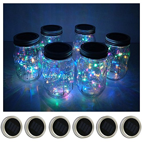 6 Pack Mason Jar Lights 10 LED Solar Colorful (4 Colors) Fairy String Lights Lids Insert for Patio...