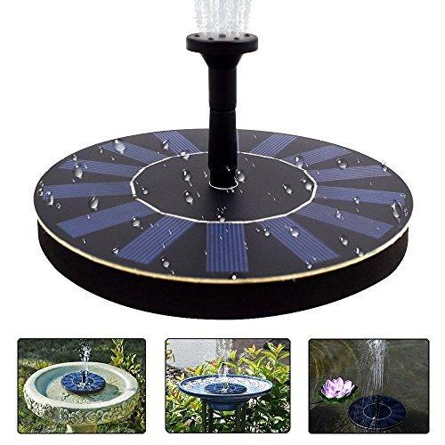 COSSCCI Solar Fountain Pump Bird Bath,1.4w Portable Submersible Free Standing Solar Outdoor Fountain...