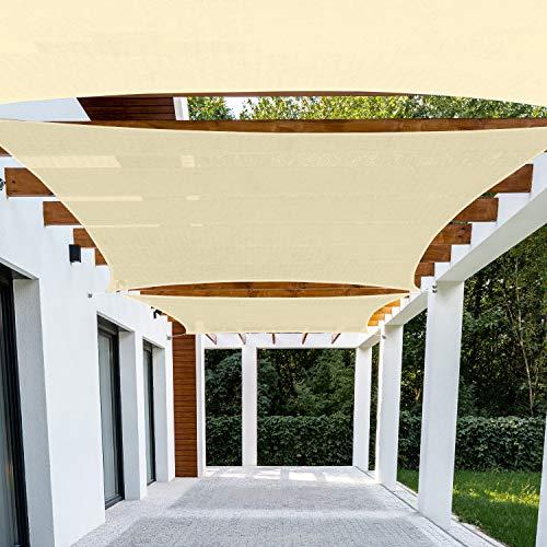 Patio Paradise 8' x 12' Beige Sun Shade Sail Rectangle Canopy - Permeable UV Block Fabric Durable...