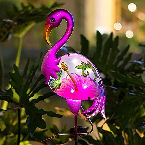 BOAER Flamingo Solar Pathway Lights Outdoor,Garden Stake Decorative Yard Art Metal& Glass Waterproof...