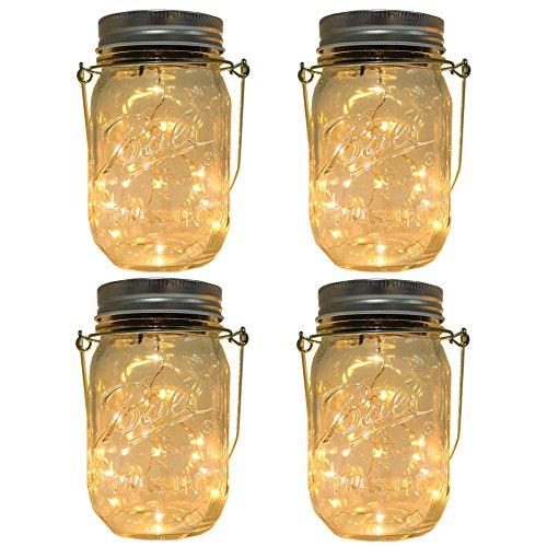 CHBKT 4-Pack Solar-powered Mason Jar Lights (Mason Jar / Handle Included),20 Bulbs Jar Hanging...