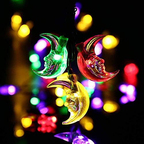 Solar String Lights,20ft 30LED Ramadan Moon Fairy Decorative Solar Lights for Halloween,Christmas...