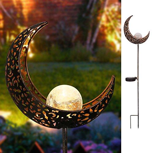 Homeimpro Garden Solar Lights Pathway Outdoor Moon Crackle Glass Globe Stake Metal Lights,Waterproof...