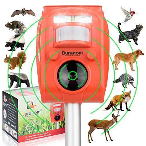 DURANOM Ultrasonic Animal Repeller Outdoor Solar Powered, Motion Sensor, Strobe