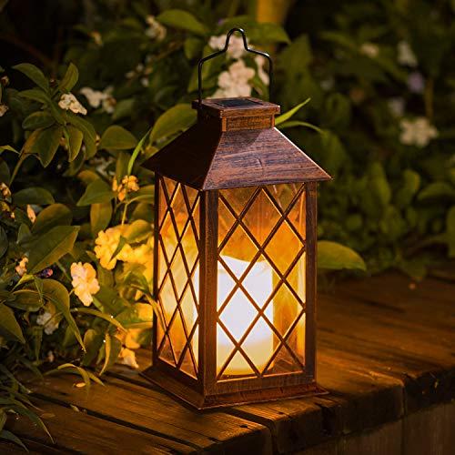 TAKE ME Solar Lantern,Outdoor Garden Hanging Lantern-Waterproof LED Flickering Flameless Candle...