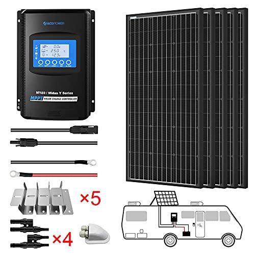 ACOPOWER 500 Watts 12 Volts Monocrystalline Panel Solar RV Kits 5PCS 100 Watts with 40A MPPT LCD...