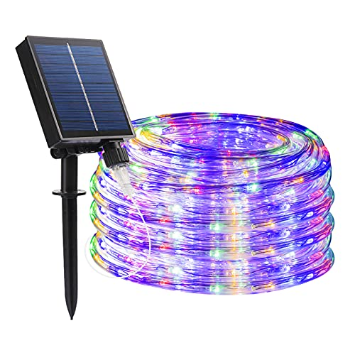 FUNIAO Christmas Solar Rope Lights, 33ft 240 LED Tube Lights, Outdoor Waterproof Solar Rope String...