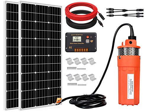 ECO-WORTHY Solar Water Pump Kit System, 2pcs 100 Watts Solar Panel + 12V Submersible Well Pump + 20A...