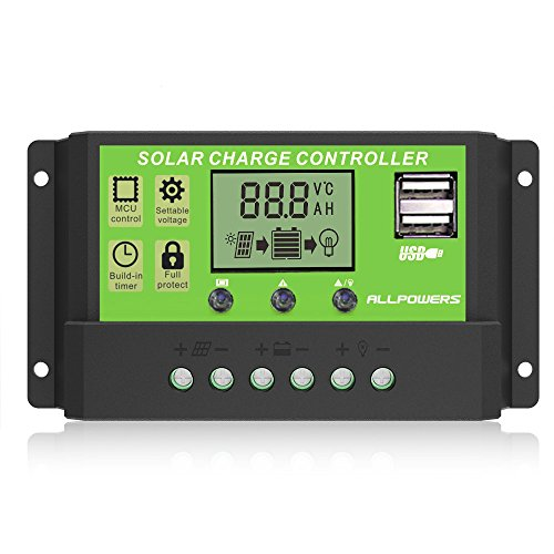 ALLPOWERS Dual USB 20A Solar Charge Controller 12V/24V Auto Paremeter Adjustable PWM LCD Solar...