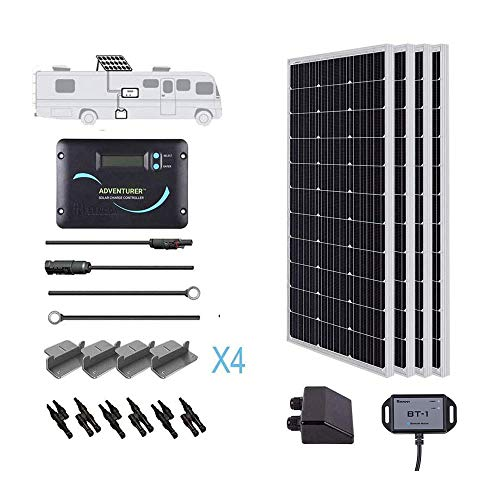 Renogy 400 Watts 12 Volts Monocrystalline Solar RV Kit Off-Grid Kit with Adventurer 30A PWM LCD...
