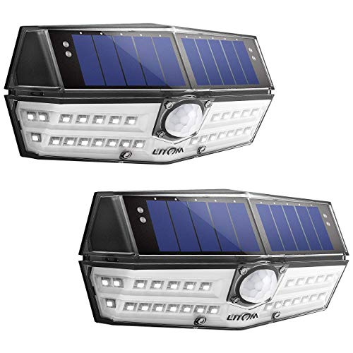 LITOM Solar Lights Outdoor, IP67 Waterproof Wireless Solar Motion Sensor Lights with 270°Wide...