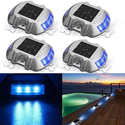 SOLMORE Solar Deck Lights,Driveway Dock LED Light IP68 Waterproof Driveway Dock Lights Solar Powered...