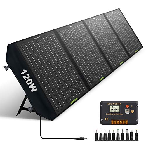 ECO-WORTHY 120W Foldable Solar Panel Charger for Portable Power Station & RV Battery, Compatible...