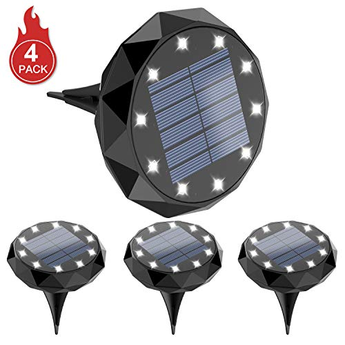 Leknes Solar Ground Lights,Upgrade Solar Powered Solar Garden Lights Solar Disk Lights Outdoor...