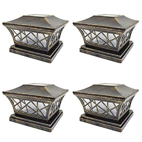 iGlow 4 Pack Vintage Bronze 6 x 6 Solar Post Light Frosted Lens SMD LED Deck Cap Square Fence...