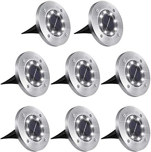 Aogist Solar Ground Lights,8 LED Garden Lights Patio Disk Lights In-Ground Outdoor Landscape...