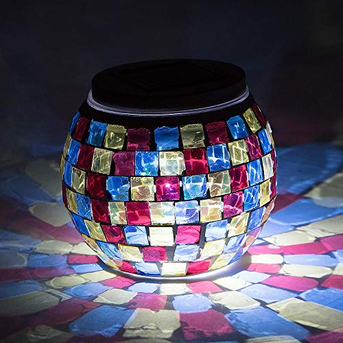 Paperlanternstore.com 4 Inch Solar Powered Mosaic Multi-Color Square Glass Tea LED Table Light,...
