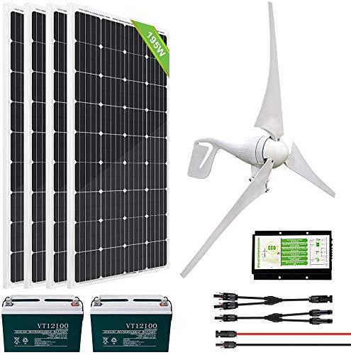 ECO-WORTHY 1200 Watts 24 Volt Solar Wind Turbine Generator Kit: 400 Watt Wind Turbine+ 4pcs 195W...