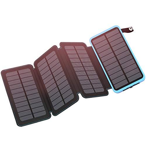 Solar Charger 25000mAh, FEELLE Portable Solar Power Bank Dual USB Ports Waterproof External Battery...