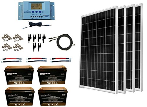 WindyNation 400 Watt Solar Kit: 4pcs 100W Solar Panels + P30L LCD PWM Charge Controller + Mounting...