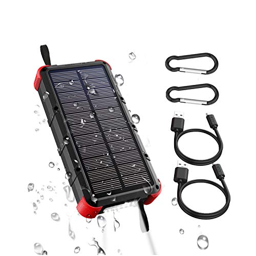 [Quick Charge] OUTXE 20000mAh IP67 Waterproof Solar Phone Charger (Dual Input 4A) Rugged Power Bank...