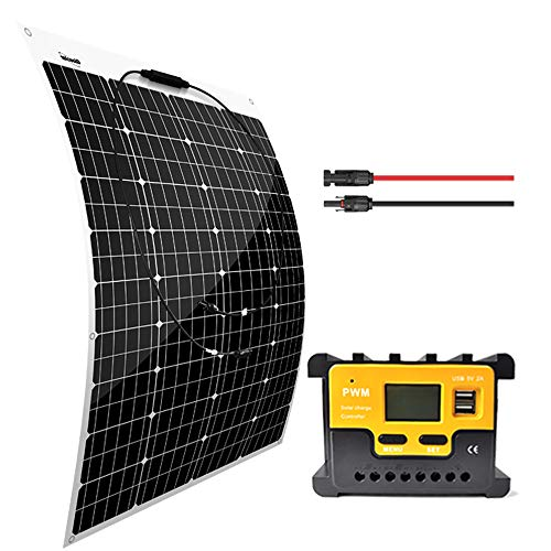 Giosolar 100W Flexible Solar Panel Charger Kit Monocrystalline + 20A PWM LED Solar Controller + 5M...