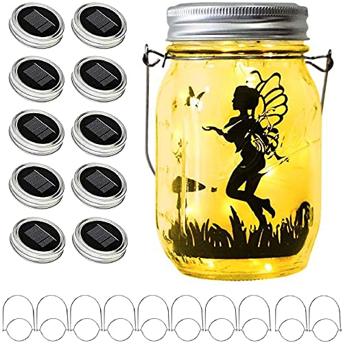 Upgraded Solar Mason Jar Lid Lights, 10 Pack 30 LED Fairy Star Firefly String Lids Lights Including...