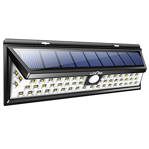 LITOM Solar Lights Outdoor, 54 LED Super Bright 270°Wide Angle Motion Sensor Lights, Wireless...