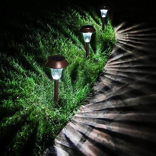 Enchanted Spaces Bronze Solar Path Light, Set of 6, with Glass Lens, Metal Ground Stake, and...