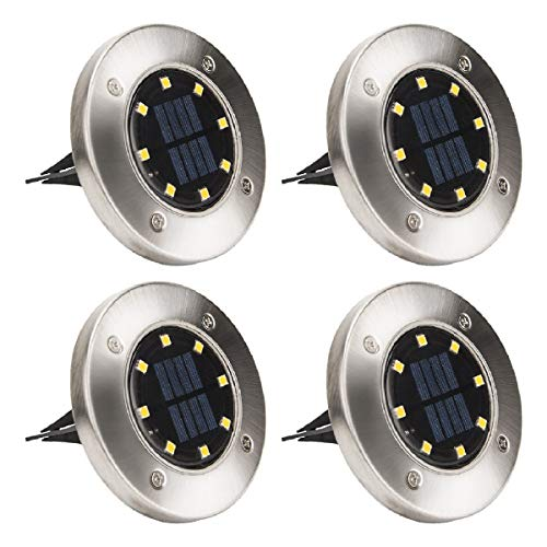 Solpex Solar Powered Disk Lights, 8LED Solar Pathway Lights Outdoor Waterproof Garden Landscape...