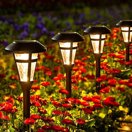 GIGALUMI 6 Pcs Solar Lights Outdoor, Bronze Finshed, Glass Lamp, Waterproof Led Solar Lights for...