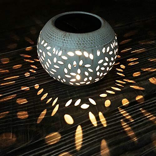 Petrala Solar Table Lights Outdoor Waterproof 7 Lumen White Metal Decorative Lighting Lantern for...