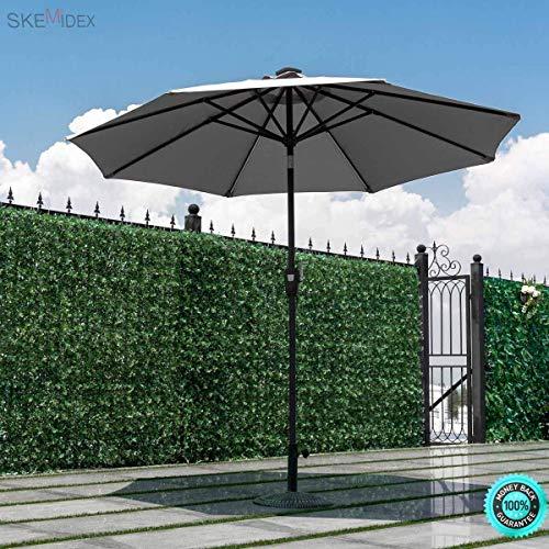 COLIBROX--- 9 FT Patio Solar Umbrella Tilt Deck Waterproof Garden Market Beach Gray Our Umbrella...