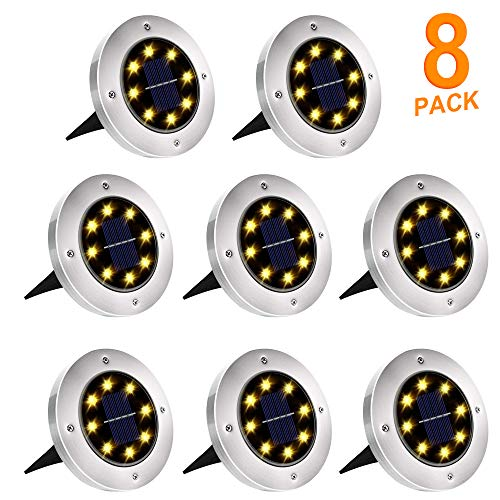 Solar Ground Lights, 8 LED Solar Disk Lights Outdoor Waterproof for Garden Yard Patio Pathway Lawn...