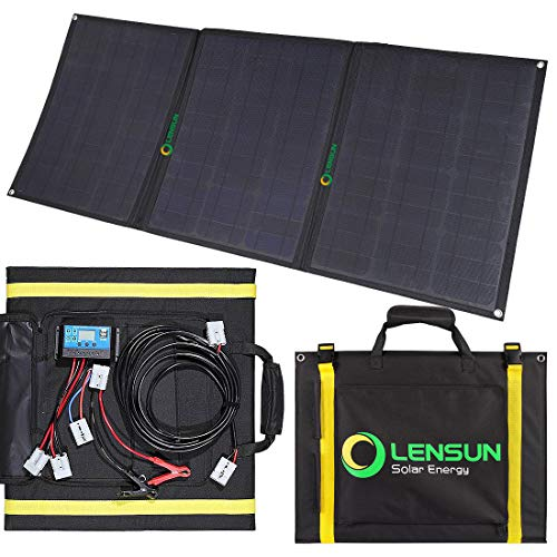Lensun 100W Foldable Solar Panel Kit, 12V Ultralight Folding Solar Charger with USB Port Solar...