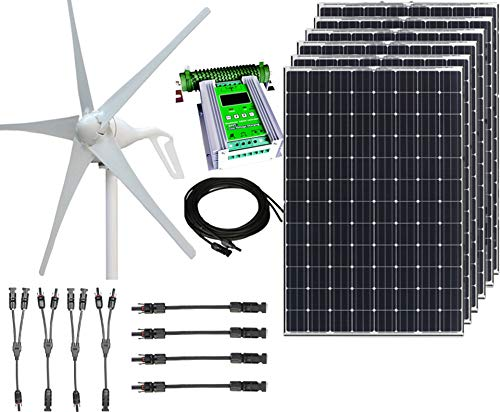 1000W 24V Hybrid Wind Solar Power DIY Off-Grid Kit - 400W Wind Turbine + 6x100W 12V Mono Solar...