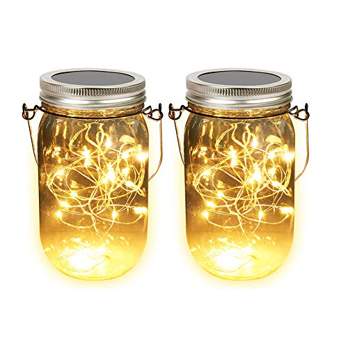Solar Mason Jar Lights, Adecorty Outdoor Hanging Lights 2 Pack 20 LED String Fairy Star Firefly Jar...