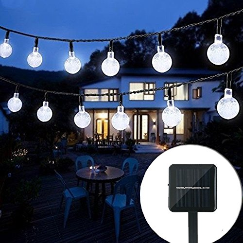 Solar String Lights Outdoor Crystal Ball Waterproof Globe String Lights 31ft 50LED Solar Powered...