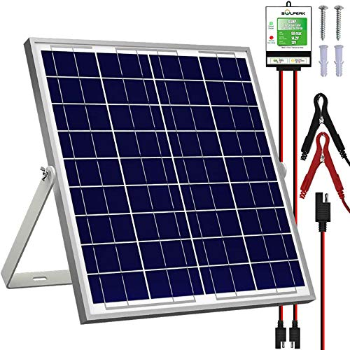 SOLPERK 20W Solar Panel,12V Solar Panel Charger Kit+8A Controller, Suitable for Automotive,...