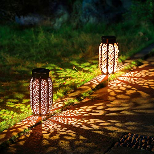 Maggift 2 Pack 10.6 Inch Hanging Solar Lights Outdoor Retro Hanging 20 Lumens Solar Lantern with...