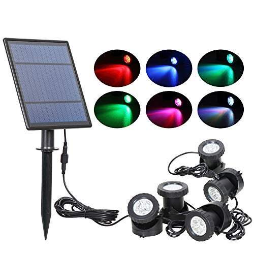 T-SUN Solar Pond Lights, 5 Headlamp RGB LED Spotlights Outdoor Security Light Solar Fish Tank Light,...