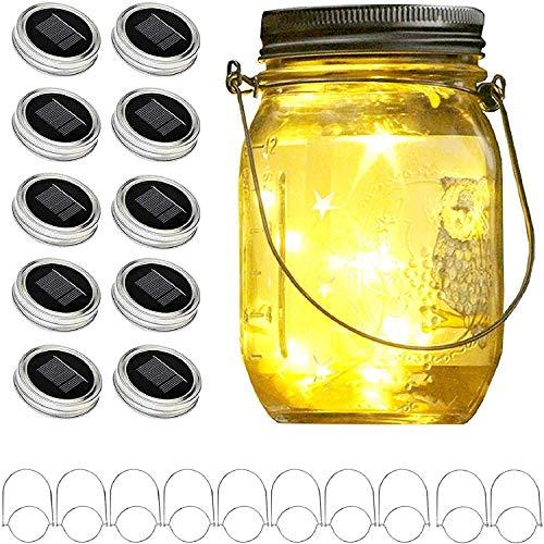 Upgraded Solar Mason Jar Lid Lights, 10 Pack 30 LED Fairy Star Firefly String Lids Lights Including...