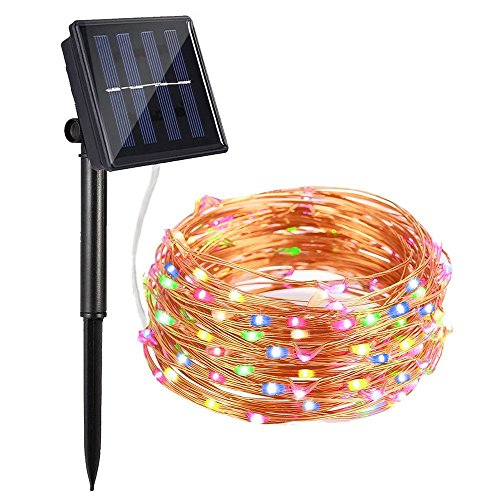 Solar String Lights, AYY 4 Colors 100 LED 33ft Starry Outdoor String Lights, Waterproof Copper Wire...